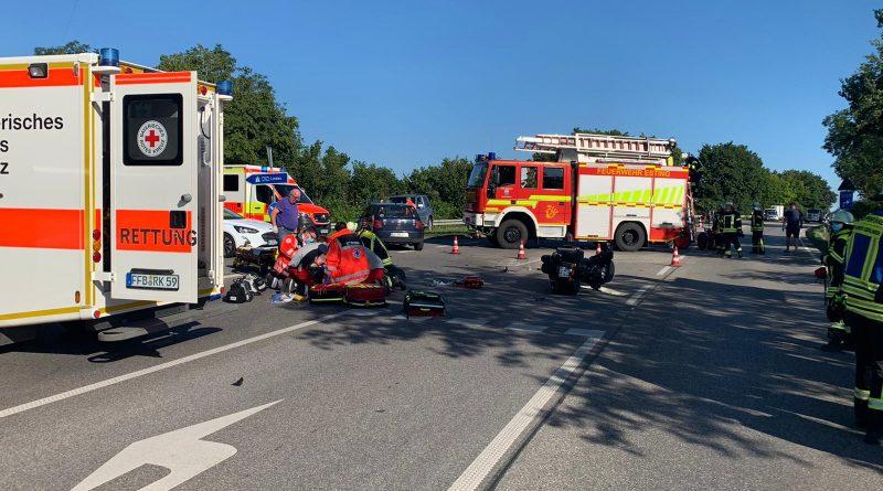Schwerer Verkehrsunfall mit Motorrad